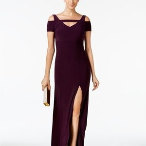 Nightway Petite Cold-Shoulder Keyhole Gown Plum